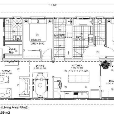 14.5m x 7.2m Hibiscus Floor Plan