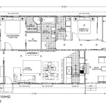 17m x 8.0m Gardenia Floor Plan