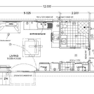 12m x 4.0m Paroo Two Bedroom Floor Plan